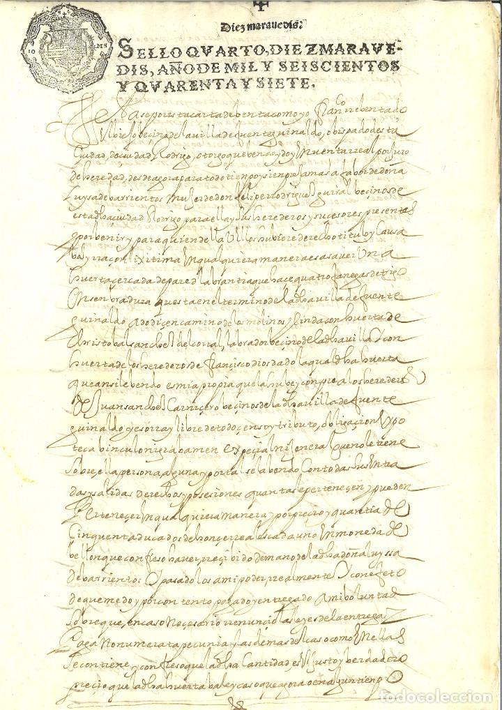 AÑO 1647. SELLO 4º. PAPEL SELLADO FISCAL. DOCUMENTO MANUSCRITO, 10 MARAVEDIS. REINADO DE FELIPE IV (Coleccionismo - Documentos - Manuscritos)