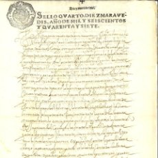 Manuscritos antiguos: AÑO 1647. SELLO 4º. PAPEL SELLADO FISCAL. DOCUMENTO MANUSCRITO, 10 MARAVEDIS. REINADO DE FELIPE IV. Lote 269189778