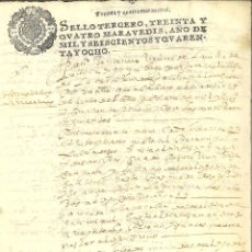 Manuscritos antiguos: AÑO 1648. SELLO 3º. PAPEL SELLADO FISCAL. DOCUMENTO MANUSCRITO, 34 MARAVEDIS. REINADO DE FELIPE IV. Lote 269189848
