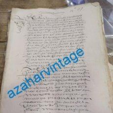 Manuscrits anciens: SEGOVIA, 1622, ESCRITURA DE DONACION DE DOÑA MARIANA DE GUEVARA PARA SU NIETO FRANCISCO DE FIGUEREDO. Lote 269222213