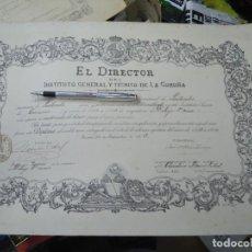 Manuscritos antiguos: 1913 ORIGINAL TÍTULO DEL INSTITUTO GENERAL Y TÉCNICO DE LA CORUÑA 1913 ORIGINAL CON SELLO Y SOBRESAL. Lote 269263788