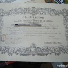Manuscritos antiguos: 1913 ORIGINAL TÍTULO DEL INSTITUTO GENERAL Y TÉCNICO DE LA CORUÑA 1913 ORIGINAL CON SELLO Y SOBRESAL. Lote 269269273