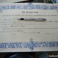 Manuscritos antiguos: 1944 ORIGINAL TÍTULO DEL INSTITUTO NACIONAL DE SEGUNDA ENSEÑANZA DE LA CORUÑA 1944 ES ORIGINAL. Lote 269275733