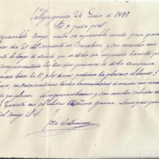Manuscritos antiguos: VALLGORGUINA. 24 DE ENERO DE 1877. A DON PEDRO PRAT. JOSÉ CATARINEU. MANUSCRITO A PLUMA. 14,5X21 CM.. Lote 269411893
