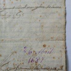 Manuscritos antiguos: DOCUMENTO MANUSCRITO 1687. Lote 270248643