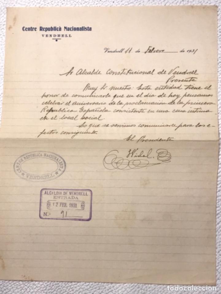 CENTRE REPUBLICÀ NACIONALISTA EL VENDRELL CARTA MANUSCRITA AL ALCALDE. 11-2-1931. (Coleccionismo - Documentos - Manuscritos)