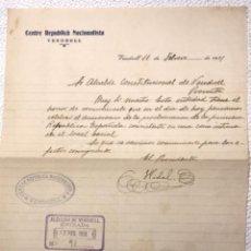 Manuscritos antiguos: CENTRE REPUBLICÀ NACIONALISTA EL VENDRELL CARTA MANUSCRITA AL ALCALDE. 11-2-1931.. Lote 270364978