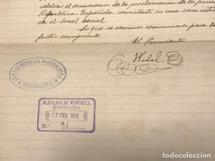 Manuscritos antiguos: CENTRE REPUBLICÀ NACIONALISTA EL VENDRELL CARTA MANUSCRITA AL ALCALDE. 11-2-1931. - Foto 3 - 270364978