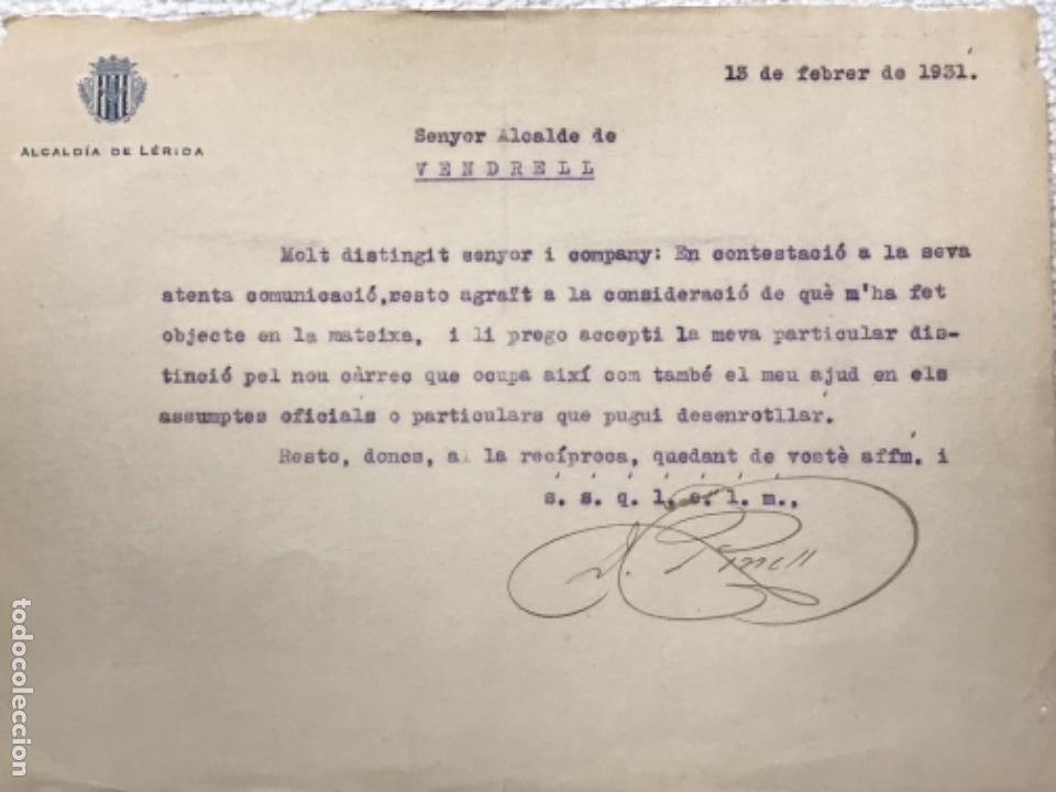CARTA DE LA ALCALDÍA DE LLEIDA AL ALCALDE DEL VENDRELL 1931. (Coleccionismo - Documentos - Manuscritos)