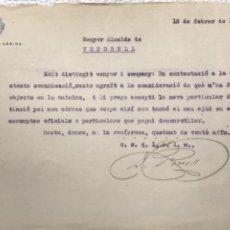 Manuscritos antiguos: CARTA DE LA ALCALDÍA DE LLEIDA AL ALCALDE DEL VENDRELL 1931.. Lote 270366483