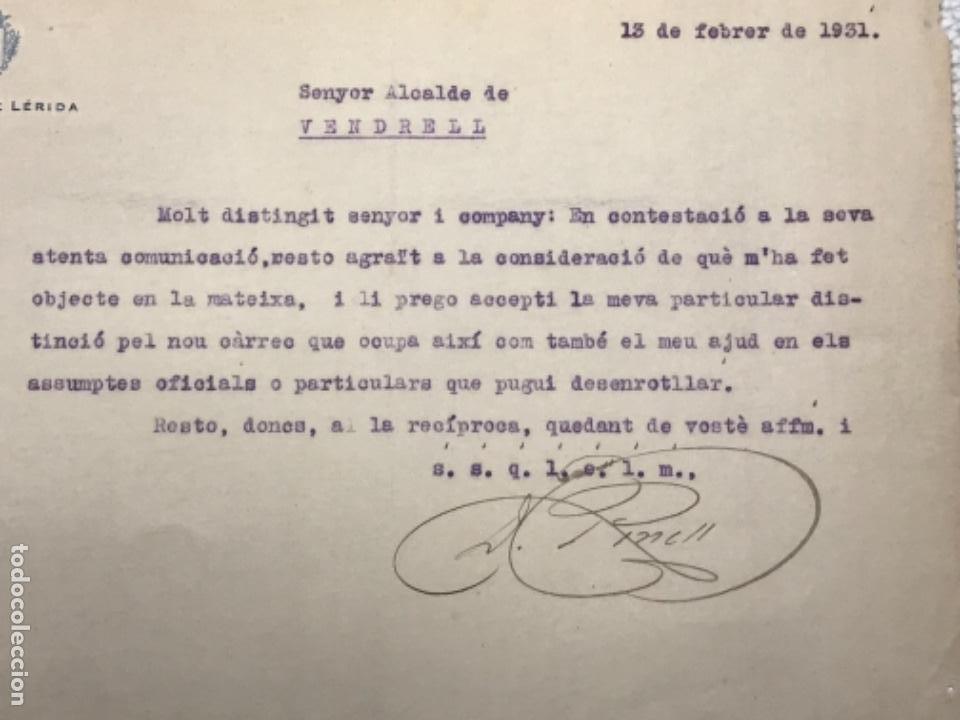 Manuscritos antiguos: CARTA DE LA ALCALDÍA DE LLEIDA AL ALCALDE DEL VENDRELL 1931. - Foto 2 - 270366483