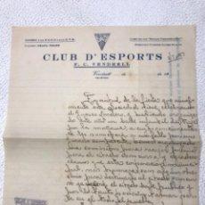 Manuscritos antiguos: CARTA MANUSCRITA DEL CLUB D'ESPORTS EL VENDRELL AL ALCALDE. 28-1-1931.. Lote 270368063