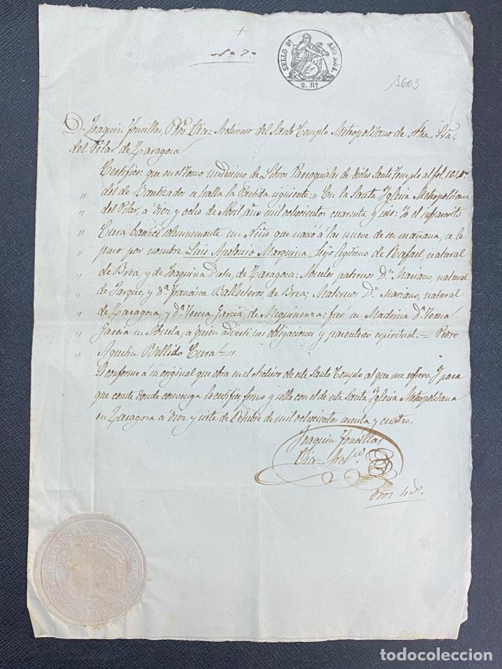Manuscritos antiguos: ZARAGOZA 1864. PARTIDA BAUTISMO SELLO DE OBLEA DEL PILAR, FIRMA VICE ARCHIVERO. - Foto 2 - 272730878