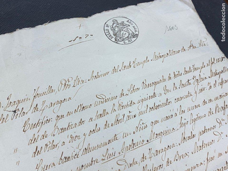 Manuscritos antiguos: ZARAGOZA 1864. PARTIDA BAUTISMO SELLO DE OBLEA DEL PILAR, FIRMA VICE ARCHIVERO. - Foto 3 - 272730878
