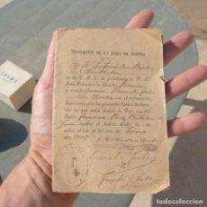 Manuscritos antiguos: ANTIGUO DOCUMENTO TESTIMONIO TOMA DE HABITO , ESTANISLAO BARBER VISITADOR , BENISA 1905. Lote 273332948
