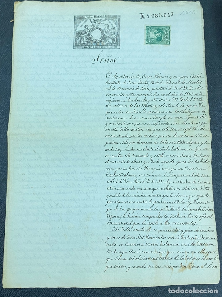 Manuscritos antiguos: 1878. FUENSANTA DE MARTOS, JAÉN. CARTA A ALFONSO XIII PARA CONSTRUIS UN NUEVO TEMPLO. FIRMAS - Foto 2 - 274248983