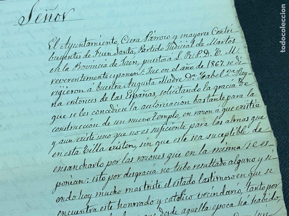 Manuscritos antiguos: 1878. FUENSANTA DE MARTOS, JAÉN. CARTA A ALFONSO XIII PARA CONSTRUIS UN NUEVO TEMPLO. FIRMAS - Foto 3 - 274248983