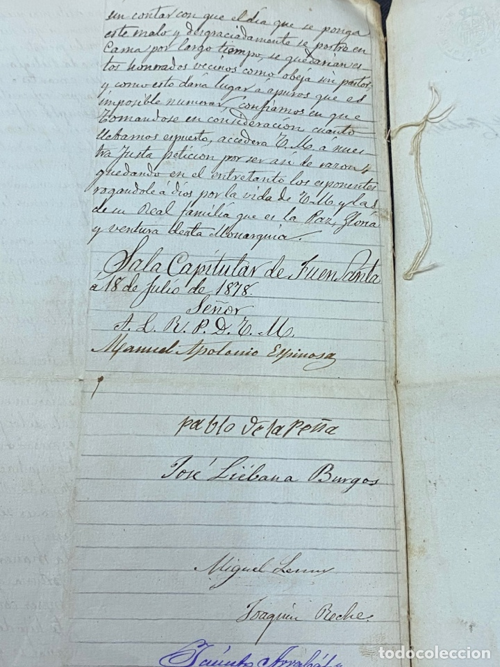 Manuscritos antiguos: 1878. FUENSANTA DE MARTOS, JAÉN. CARTA A ALFONSO XIII PARA CONSTRUIS UN NUEVO TEMPLO. FIRMAS - Foto 5 - 274248983