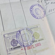 Manuscritos antiguos: 1931 PAPEL TIMBRADO 30 CTS. ADUANAS LÉRIDA, EXPORTACIÓN TEMPORAL, OHMIMETRO. Lote 275926338