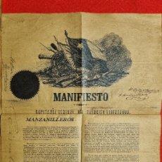 Manuscritos antiguos: DOCUMENTO MANIFIESTO CAPITANIA GENERAL EJERCITO LIBERTADOR CUBA MANZANILLO 1868 FIRMA C.M. CESPEDES. Lote 275936953
