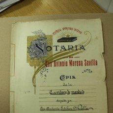 Manuscritos antiguos: ESCRITURA EN MIRA - CUENCA AÑO 1919 - 3 FOLIOS MUY BIEN CONSERVADOS. REF.32. Lote 276624988