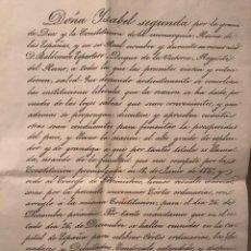 Manuscritos antiguos: ISABEL II (ESPARTERO). CONVOCATORIA A CORTES GENERALES. DICIEMBRE DE 1842. Lote 276690698