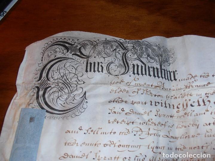 Manuscritos antiguos: MANUSCRITO INGLES EN PERGAMINO. 1710. - Foto 2 - 276909328