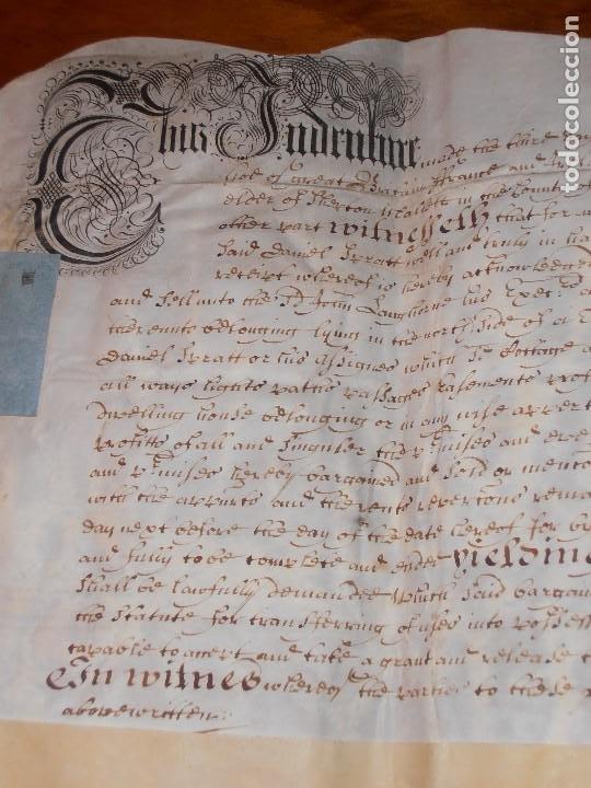 Manuscritos antiguos: MANUSCRITO INGLES EN PERGAMINO. 1710. - Foto 7 - 276909328