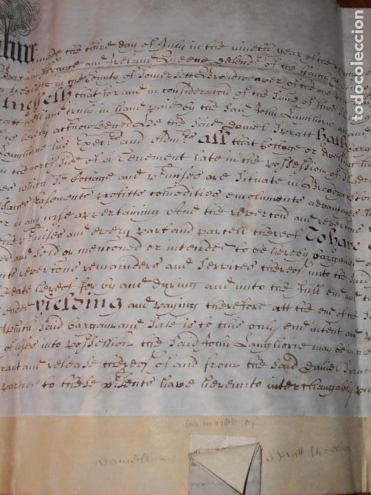 Manuscritos antiguos: MANUSCRITO INGLES EN PERGAMINO. 1710. - Foto 8 - 276909328