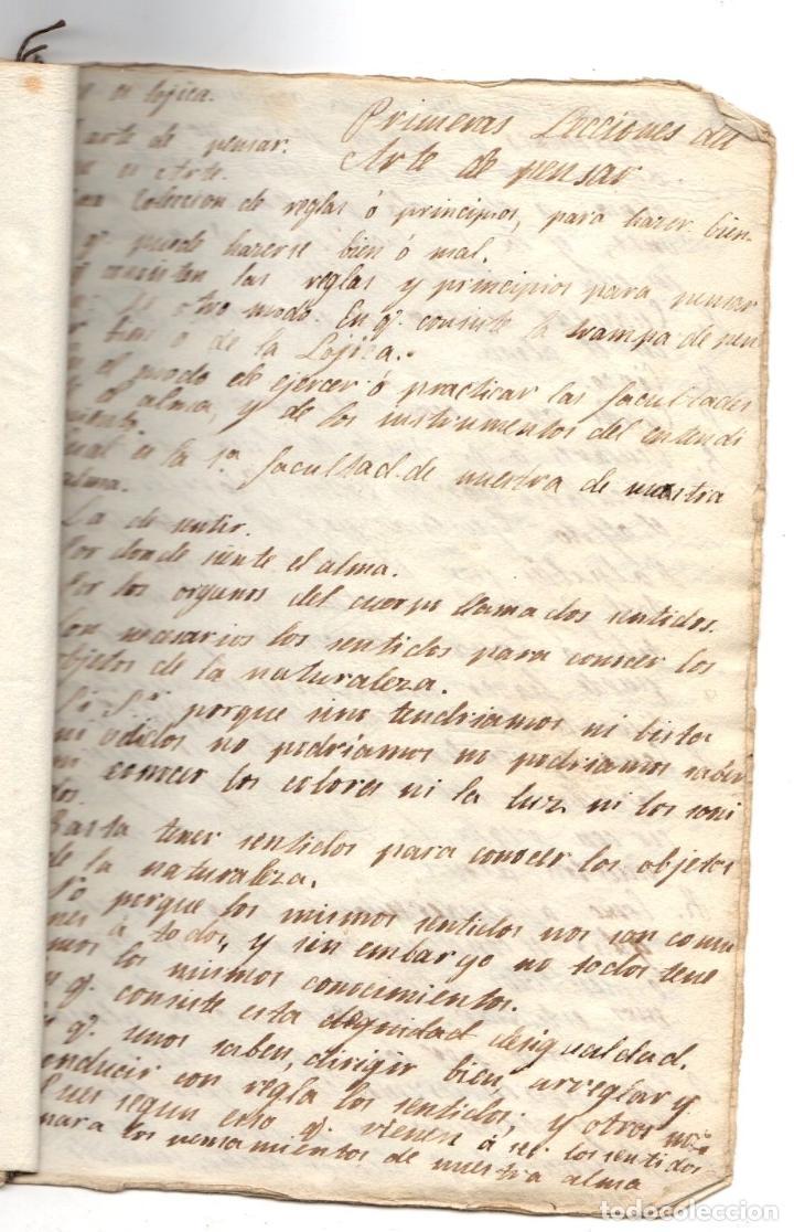 MANUSCRITO FILOSOFICO LECCIONES DEL ARTE DE PENSAR. SIGLO XIX. SIN AUTOR (Coleccionismo - Documentos - Manuscritos)
