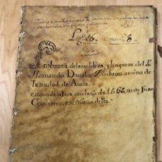 Manuscritos antigos: PROBANZA DE LA NOBLEZA Y LIMPIEZA DE SANGRE DE HERNANDO DAVALOS, VECINO DE AVILA. AÑO 1566. Lote 277037508
