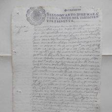 Manuscritos antiguos: MANUSCRITO AÑO 1660 FISCALES 4ºS ALMOGUERA GUADALAJARA ESCRITURA VENTA. Lote 277164768