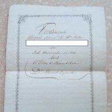 Manuscritos antiguos: ANTIGUO TESTAMENTO MANUSCRITO FECHADO EN 1856. SELLO FISCAL. W. Lote 277164873