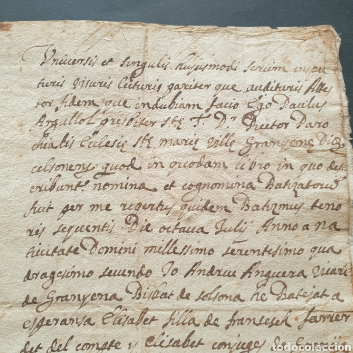 Manuscritos antiguos: Manuscrito latín y catalan 1642 Siglo XVII Bautizó Párroco Iglesia Villa Granyena Bisbat de Solsona - Foto 3 - 277597228