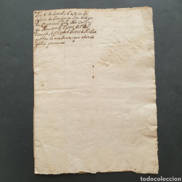 Manuscritos antiguos: Manuscrito latín y catalan 1642 Siglo XVII Bautizó Párroco Iglesia Villa Granyena Bisbat de Solsona - Foto 4 - 277597228