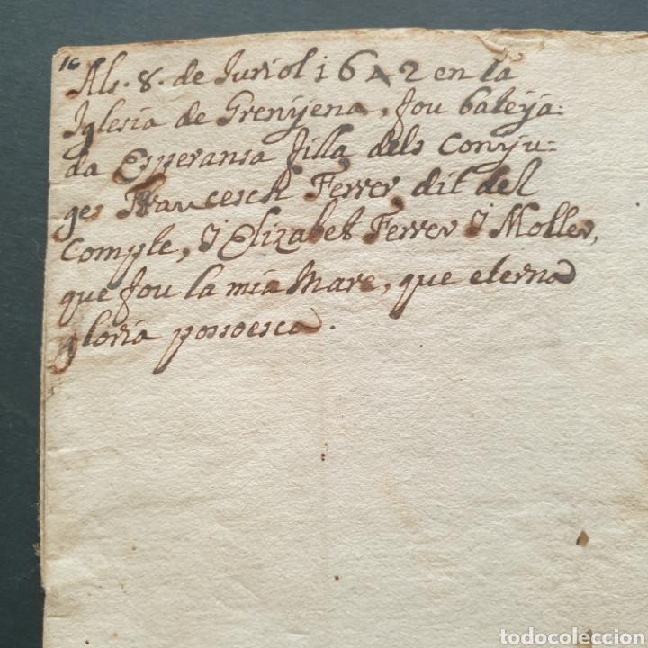 Manuscritos antiguos: Manuscrito latín y catalan 1642 Siglo XVII Bautizó Párroco Iglesia Villa Granyena Bisbat de Solsona - Foto 5 - 277597228