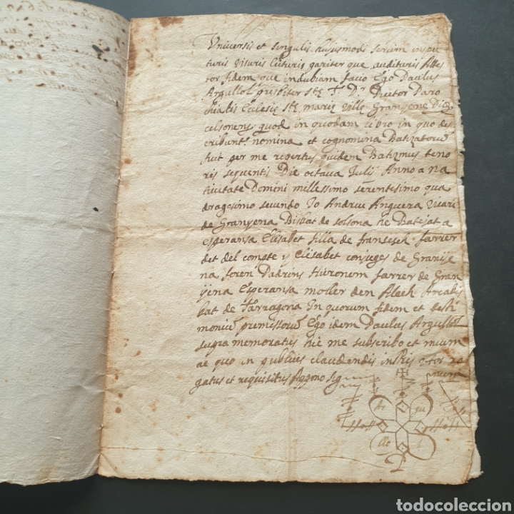 MANUSCRITO LATÍN Y CATALAN 1642 SIGLO XVII BAUTIZÓ PÁRROCO IGLESIA VILLA GRANYENA BISBAT DE SOLSONA (Coleccionismo - Documentos - Manuscritos)