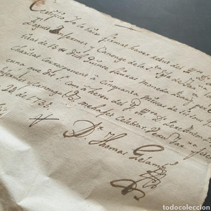 Manuscritos antiguos: Certificado manuscrito Enfer. Canonigo Santa Iglesia Tarragona 15 libras para 50 misas Siglo XVIII - Foto 2 - 277599333