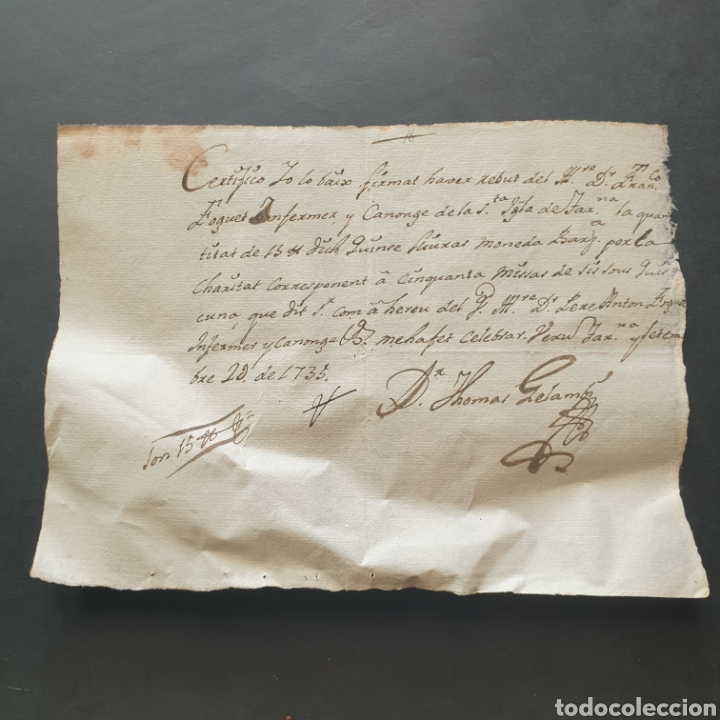 CERTIFICADO MANUSCRITO ENFER. CANONIGO SANTA IGLESIA TARRAGONA 15 LIBRAS PARA 50 MISAS SIGLO XVIII (Coleccionismo - Documentos - Manuscritos)