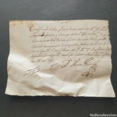 Manuscritos antiguos: CERTIFICADO MANUSCRITO ENFER. CANONIGO SANTA IGLESIA TARRAGONA 15 LIBRAS PARA 50 MISAS SIGLO XVIII. Lote 277599333