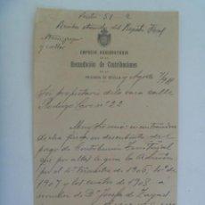 Manuscritos antiguos: EMPRESA ARRENDATARIA DE LA RECAUDACION DE CONTRIBUCIONES: CARTA AVISO DE PAGO. SEVILLA, 1911. Lote 278266488