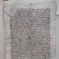 Manuscritos antiguos: MANUSCRITO AÑ0 1571 CORNAGO IXEA - LA RIOJA VENTA DE UN PEDAZO DE VIÑA BONITA LETRA Y FIRMA. Lote 278677468