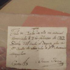 Manuscritos antiguos: NOTA MANUSCRITA 1769 CARLOS DE LEÓN REY DE CASTILLA. Lote 278833943