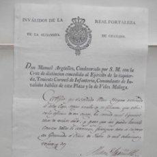 Manuscritos antiguos: MANUSCRITO AÑ0 1822 REAL FORTALEZA DE LA ALHAMBRA DE GRANADA BONITO CERTIFICADO GRABADO. Lote 279583823