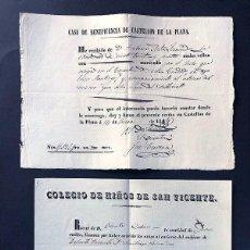 Manuscritos antiguos: CASTELLÓN DE LA PLANA / AÑO 1853 / COLEGIO DE NIÑOS DE SAN VICENTE / CASA DE BENEFICIENCIA. Lote 279589558