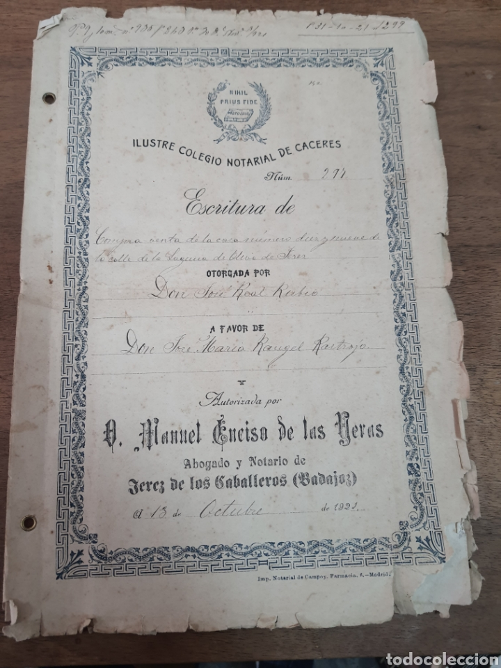 ESCRITURAS DE OLIVA DE JEREZ. BADAJOZ 1921 (Coleccionismo - Documentos - Manuscritos)