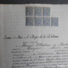 Manuscritos antiguos: 7 FISCALES CUBA AÑO 1898-99 CON VALOR 5 C. DE PESO EN MANUSCRITO DEL AÑO 1898. Lote 281223058