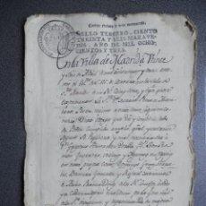 Manuscritos antiguos: MANUSCRITO AÑO 1803 FISCAL 3º MADRID PODER NOTARIAL BONITA FIRMA. Lote 281928723