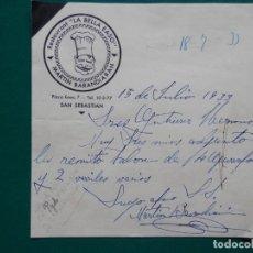 Manuscritos antiguos: SAN SEBASTIÁN AÑO 1933 FIRMA MANUSCRITA RESTAURANTE DE MARTÍN BARANDIARÁN - LA BELLA EASO. Lote 282214723