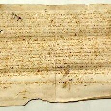 Manuscritos antiguos: NUMULITE A30058 PERGAMINO ANTIGUO FORNELLS ? DONACIÓN NOTARIO GERONA GIRONA MANUSCRITO 1589. Lote 283828973